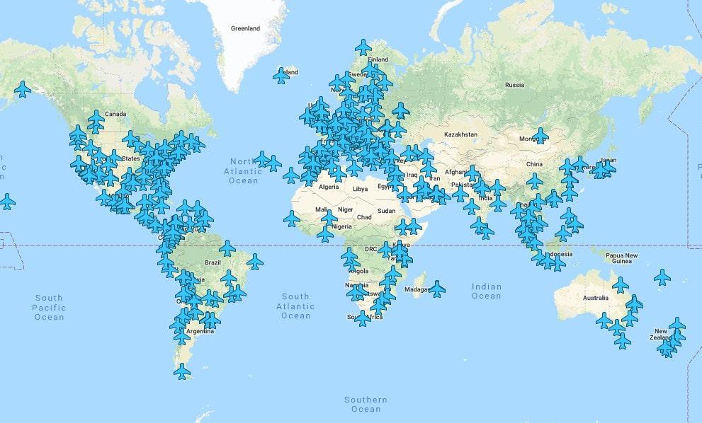 Interaktivna mapa sa Wi-Fi šiframa na aerodromima širom sveta