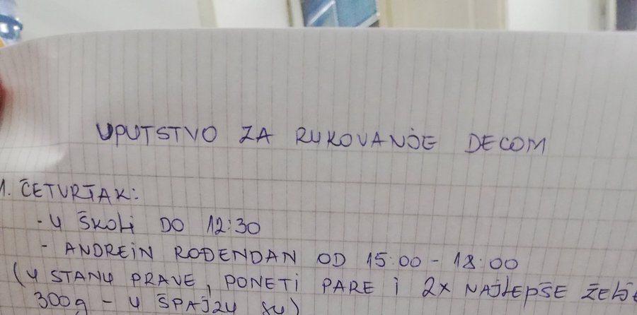 """Majka iz Srbije ostavila mužu urnebesno """"uputstvo za rukovanje decom"""""""
