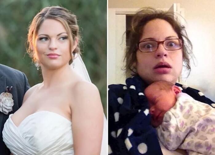 Komične fotografije ljudi pre i nakon što su dobili decu